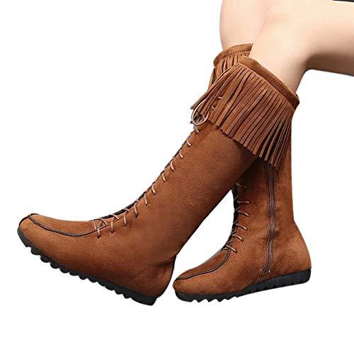 JiaMeng Zapatos de mujer Zapatos Combat con Correa Moda Mujer Botas largas con Cordones Botas largas con Flecos Botas largas Botas Altas con Cordones Tassel Knee(marrón,EU39)