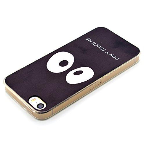 Per iPhone SE 5S Cover Silicone,SKYXD Custodia in TPU Gomma Morbido Ultra Sottile Trasparente Fiore Creativo Coperture Posteriore Libro Antiurto Antipolvere Colorata Protettiva Custodia per Apple iPho Dont Touch Me