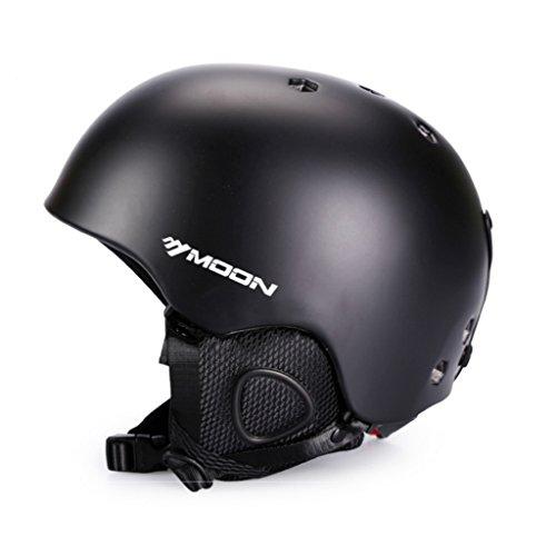 Moon Winter Sports einteiliger Skihelm Schnee Helm PC+EPS Schutzausrüstung Samt Ohrenschützer und Futter für Skifahren, Erwachsene Skihelme Snowboardhelme, Skilaufen, Skifahren, Eislaufen, mit CE (Black, XL(61-64cm))