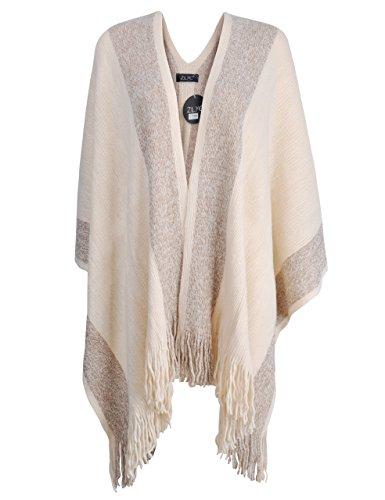 ZLYC Damen Herbst/Winter Weiche Schlichte Poncho Capes Retro - Stil Cardigans Pullover Mantel mit Fransen