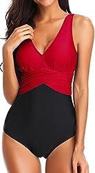 Bettydom Damen Badeanzug mit V-Form Ausschnitt bauchweg Monokini Rückenfrei Cut Out Push-up Bikini Elegant Grace U-Back (Rot, L)