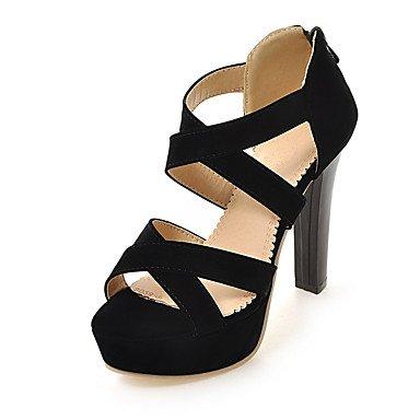 LvYuan Sandali-Casual-Club Shoes-Quadrato-Finta pelle-Nero Rosso Tessuto almond Red