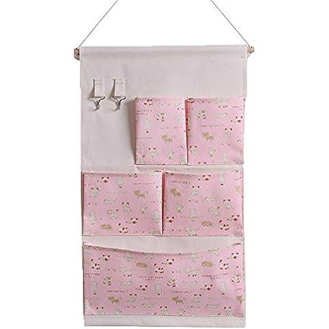 hangnuo panno borsa Organizer Borsa da appendere sopra la porta armadio da appendere con gancio 5 pockets pink cat