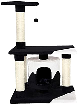 Dibea KB00227 Árbol Rascador Escalador para Gatos, Altura 90 cm, Color Negro y Blanco