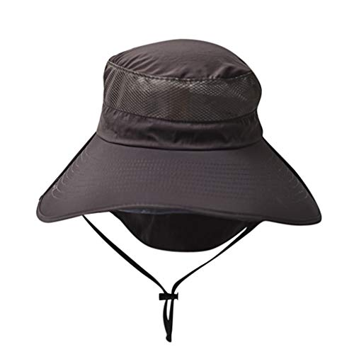 DWQuee Frauen Sonnenhut mit Kinnriemen, Unisex Baumwolle Outdoor Eimer Angeln Hut UV-Schutz Sonnenschutzkappe