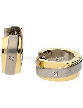 Boccia Damen-Creolen Titan teilvergoldet Diamant (0.01 ct) transparent Brillantschliff - 0560-07