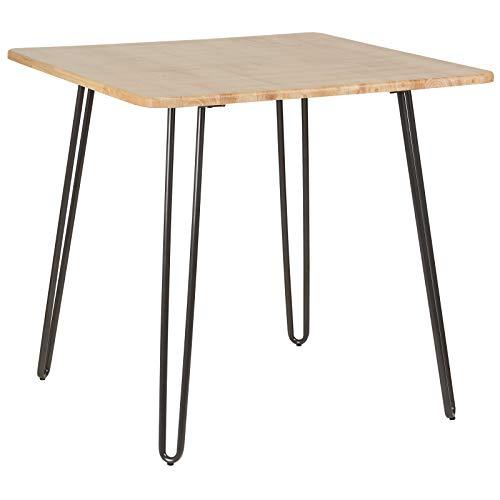 Hartleys – Tisch mit massiver Holzplatte und Hairpin-Beinen in Grau