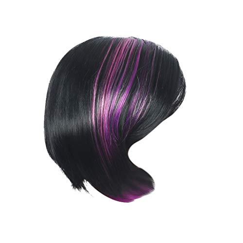 BfmyxgsFrauen Bobo Kopf Mode Persönlichkeit Kurzes Haar Bleichmittel Hight Teprature Seide Stoff Mode Kurzes Haar -