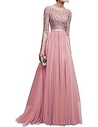 Damen Elegant Spitzen Cocktailkleid Vintage Hälfte Ärmel Abendkleid Lange Party Kleid Retro Brautjungferkleid Hohe Taille Petticoat Faltenrock Maxiskit