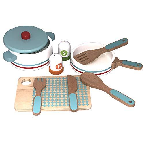 TikTakToo Spielküche aus Holz Natur zum Mitnehmen mit reichhaltigem Zubehör, Töpfe, Teller, Mixer für Kinder aus Holz, Toaster (Topfset)