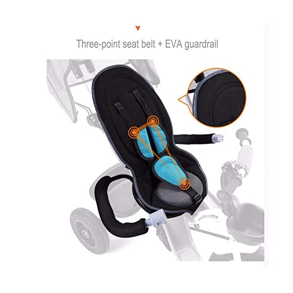 GSDZSY - Foldable Children Tricycle, Push Rod Adjusts Height And Control Direction, Seat Adjustable And Rotating, Baby Can Sit Or Half Lying,1-6 Years Old GSDZSY ❀ Material: High carbon steel + ABS + rubber wheel, suitable for children from 6 months to 6 years old, maximum load 30 kg ❀ Features: The push rod can be adjusted in height, the seat can be rotated 360, the backrest can be adjusted, the baby can sit or recline; the adjustable umbrella can be used for different weather conditions ❀ Performance: high carbon steel frame, strong and strong bearing capacity; non-inflatable rubber wheel, suitable for all kinds of road conditions, good shock absorption, seat with breathable fabric, baby ride more comfortable 5