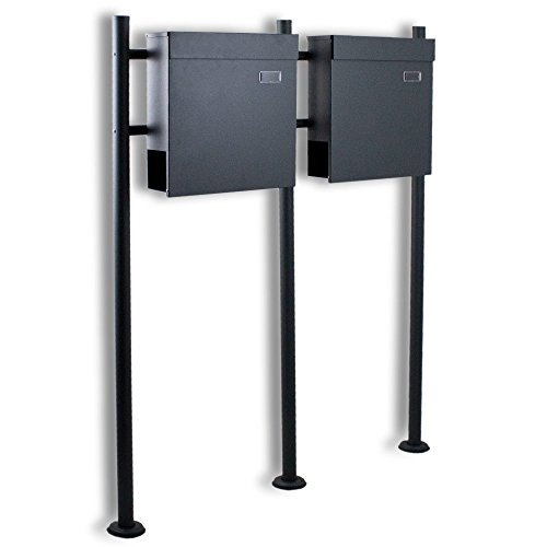 BITUXX® Doppelstandbriefkasten Briefkasten Postkasten Mailbox Letterbox Briefkastenanlage mit integrierten Zeitungsfach Dunkelgrau Anthrazit - 2