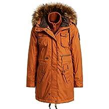 f6732df7f58261 khujo Damen Winterjacke FAIKA with Inner Jacket Lange Wachsjacke mit  Innenfutter und Kunstfell