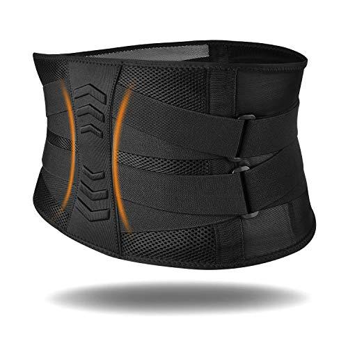 Fitself Rückenbandage Herren Damen Rückengurt Atmungsaktiver Verstellbare Zuggurte Rückenstützgürtel für Fitnessstudio Laufen Radfahren Basketball Work