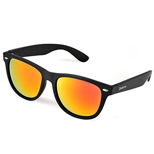 Duduma Verspiegelte Wayfarer Sonnenbrille Reflektierende Revo Farbe Fashion Unisex Vintage Style Hornbrille UV400 Sonnenbrille (Schwarz Rahmen mit Rot Spiegellinse)