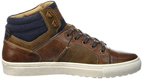 Australian Nebraska Leather, Mens Turtleneck Sneaker Beige (tan-blue)