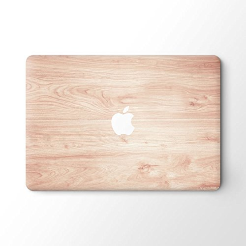 pop-items MacBook Cover, hochwertiges Wood Design, Holz Muster Aufkleber, Folie, ausgespartes Apple Logo, abziehbarer Sticker, Vinyl Skin für MacBook (13 Air, Holz hell)