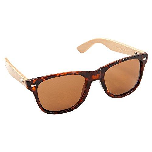 ECENCE Bambus Holz Sonnenbrille Damen Herren Unisex Nerdbrille Fashion braun 23020107