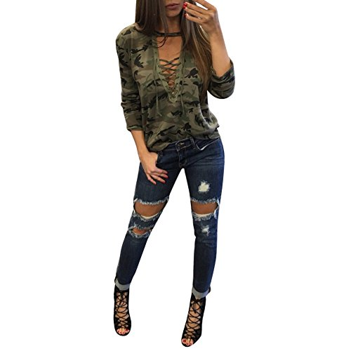 balai-femmes-camouflage-t-shirt-manches-longues-tops-col-v-vetements-casual