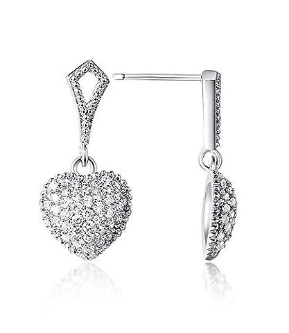 Dangle Earrings Sterling Silver Heart Drop CZ Diamond Pave Post