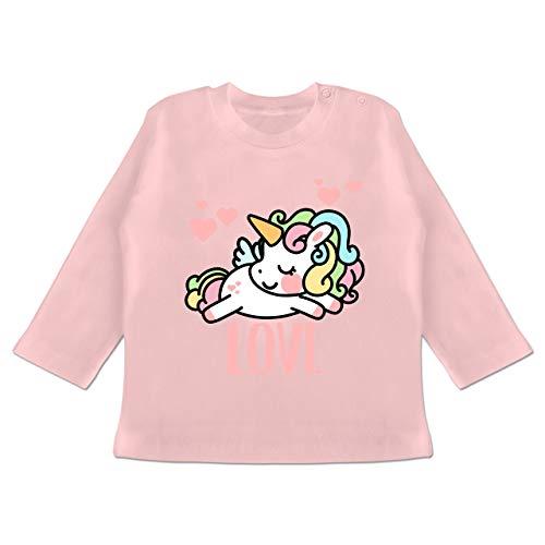 Up to Date Baby - Valentinstag Einhorn - 6-12 Monate - Babyrosa - BZ11 - Baby T-Shirt Langarm (Einhorn Kostüm 2 Person)