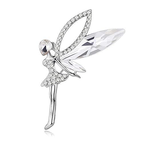 MATBC Strass Engel Fee Figur Brosche Für Frauen Hochzeit Broschen Pin Kragen Schal Dekoration Modeschmuck Zubehör - Engel-hut Frauen Für