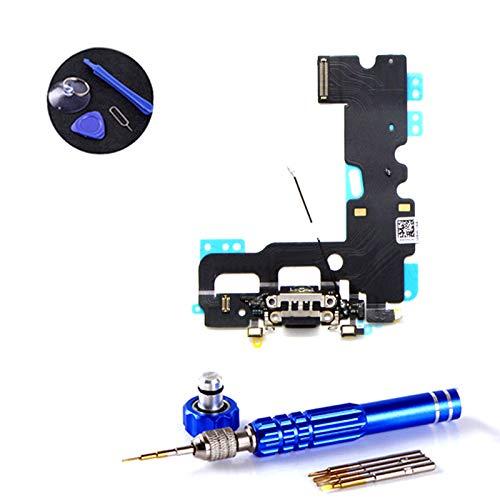 PPdigi Dock Connector für iPhone 7 USB Ladebuchse Audio buchse Mikrofon mit Werkzeugset (Passen iPhone 7, Diamantschwarz/Space Grau)