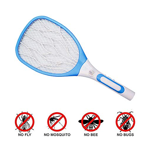 Raqueta Mosquito Matamoscas eléctrico Mosquito Zapper Asesino de insectos para el jardín al aire libre casero interior, Carga USB / 2500 voltios / luz LED brillante / malla de seguridad de 3 capas