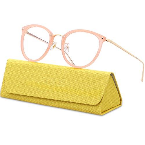 SOJOS Runde Brille Schick Optiker Klar Objektiv Brille Damen SJ5969 mit Rosa Rahmen/Gold Bügel