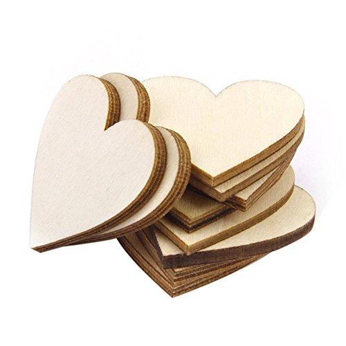 comprare on line TRIXES Confezione da 100 Cuori Rustici di San Valentino in Truciolato di Legno, per Matrimoni, la Decorazione e i Lavori Artigianali - Cuori Legno 5 cm prezzo