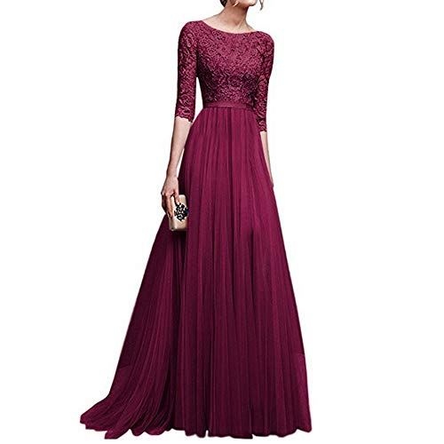 Womens Dresses,Ears Women's Vintage Elegant 2/22 Sleeves Floral Lace Tulle Evening Cocktail Prom Ball Gown Long Maxi Wedding Bridesmaid Chiffon Dress Women's Elegant Dresses - Prom Cocktail