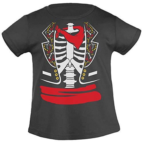 Costume Halloween per Bambini da Scheletro Messicano Coco T-Shirt Maglietta Bambina 8-10 Anni (130/140cm) Nero