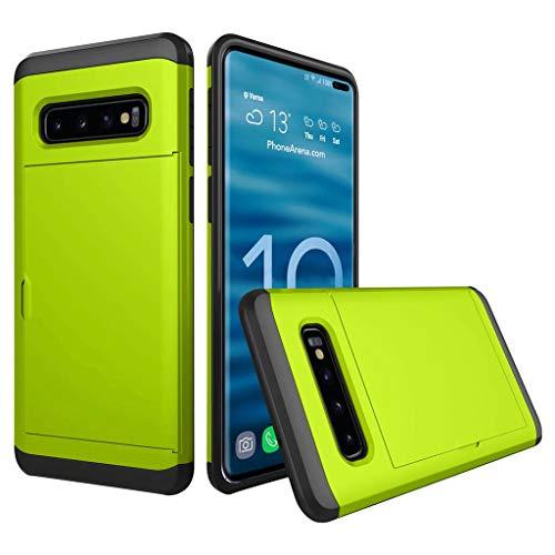 TIREOW Neuer Fall Abdeckung Hart PC Silikagel Telefon Protector Kartenhalter Für 2019 Samsung Galaxy S10 Plus 6,4 Zoll (Grün) -