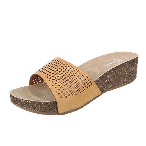Pantoletten Damen-Schuhe Jazz & Modern Keilabsatz/ Wedge Keilabsatz Ital-Design Sandalen / Sandaletten Camel, Gr 40, 51-M41397C-
