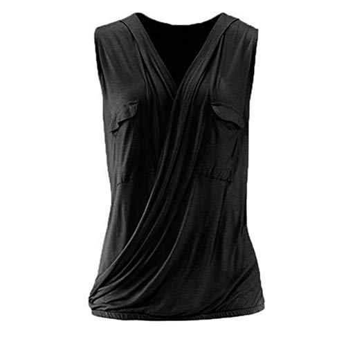 Wawer Damen Top 💕Frauen beiläufiges festes Sleeveless mit Taschen-Kreuz-Entwurfs-Behälter-Blusen-Hemd-Oberseiten, Tank Tops Weste Flacher Kragen