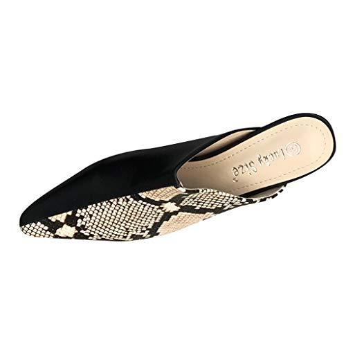 Geilisungren Damen Pantoffeln Sexy Spitz Schlangenhautmuster Sandalen Hausschuhe Slippers Mules Frauen Sommer Modische Slip-On PU-Leder Sandaletten Abendschuhe mit Absatz