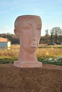 Frauenkopf, bepflanzbar,41cm, terracotta.