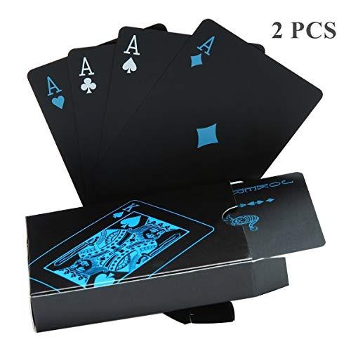 Wasserdichtes Pokerkarten schwarze Spielkarten Profi Poker Karte Spielkarte playing cards aus Plastik Top Qualität Plastic Poker für Ihr Poker Vergnügen (2 Stück)