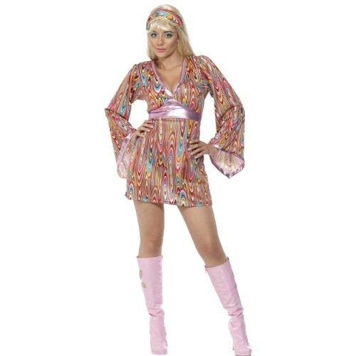 Karneval Damen Kostüm Hippie Hottie buntes 60er Jahre Kleid Größe L (Hippie Hottie Kostüm)