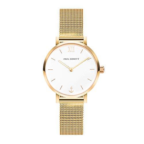 PAUL HEWITT Armbanduhr Damen Sailor Line Modest White Sand - Damen Uhr (Gold), Damenuhr Edelstahlarmband in Gold, weißes Ziffernblatt