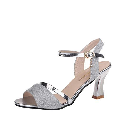 Elecenty scarpa con tacco donna eleganti sandali moda donna paillettes sandali alla caviglia tacco alto block party scarpe aperte