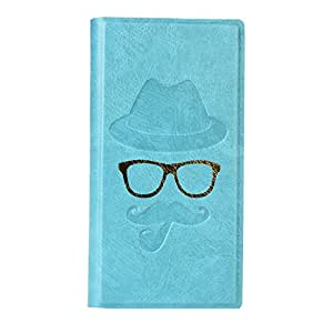 Jo Jo Cover Moustache Series Leather Pouch Flip Case For Sony xperia arc S Light Blue