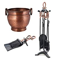 Copper Finish Fireside Collection Bucket Hearth Tidy Companion