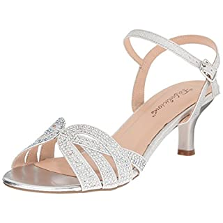 Pleaser Audrey 03, Damen Sandalen, Silber (Slv Shimmering Fabric), 39 EU (6 UK, 9 US)