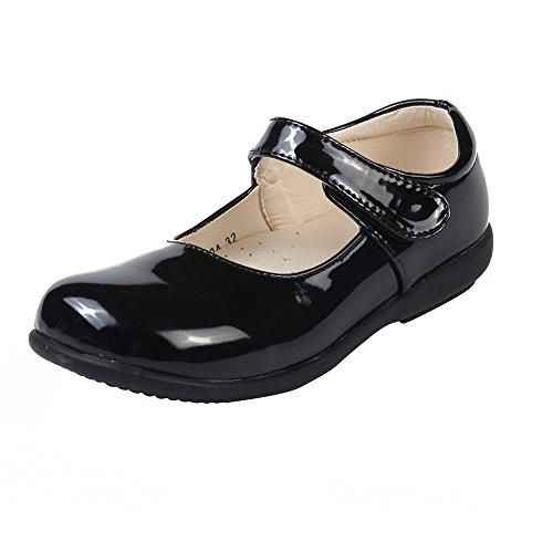 Leder-walking-mary Janes (MK Matt Keely Kinder Mädchen Flache Schulschuhe Schwarz Mary Jane Prinzessin Schuhe Lackleder Wanderschuhe)