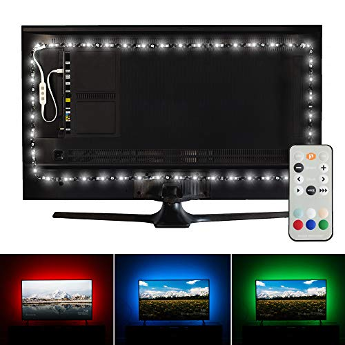"Luminoodle Professional Bias Lighting for HDTV | 15 Colors + 6500K True White LED TV Backlight | fits 55"" to 75"" TV 