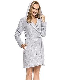 dn-nightwear Damen Bademantel / Morgenmantel mit hohem Baumwollanteil