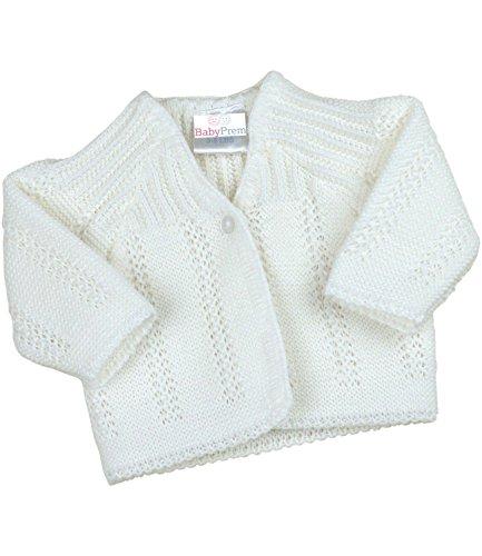 BabyPrem Frühchen Babykleidung StrickJäckchen Pullover Weich Gestrickt 44-50cm WEISS