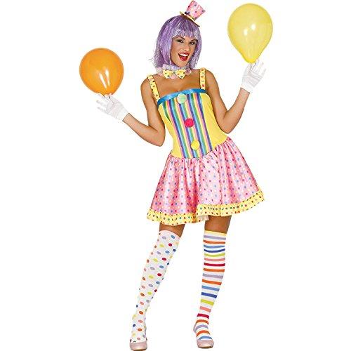 Buntes Clown Kostüm für Damen Karneval Einhorn Fasching Party Geburtstag Lustig , Größe:M