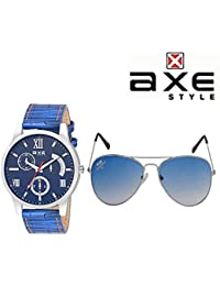Axe Style XSW008 Watch-Sunglass Combo (Blue) | High Quality | 100% UV Protected Sunglasse (XSG625, X1193)